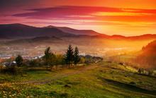 Sunrise In The Mountain Town O...