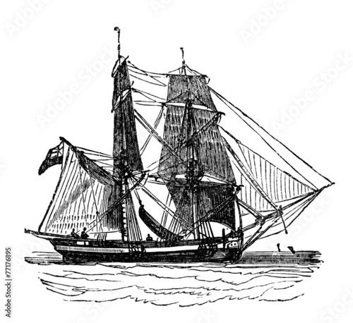 Vászonkép Victorian engraving of a brig