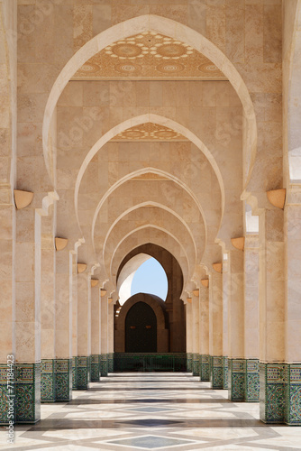 Photo  Morocco. Arcade of Hassan II Mosque in Casablanca