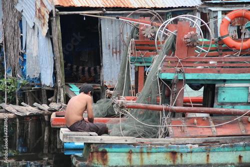 Poster Afrique du Sud asiatisches Fischerdorf in Vietnam