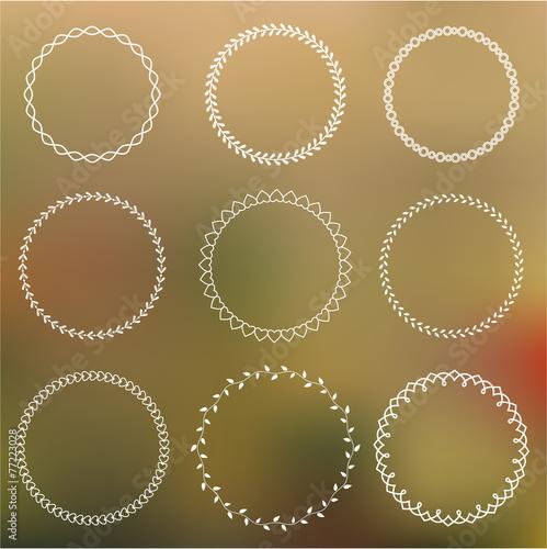 Photo  Set of round frames on blurred background