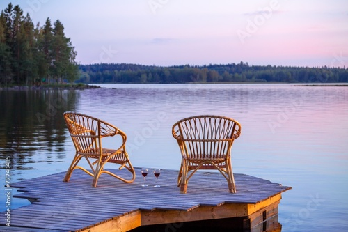 Two Chairs on dock Canvas Print