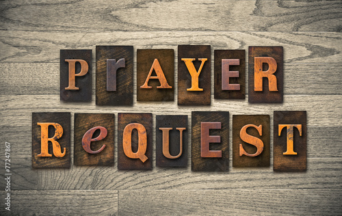 Foto Prayer Request Wooden Letterpress Concept