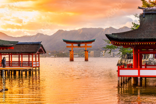 Photo sur Toile Japon Miyajima Torii gate, Japan.
