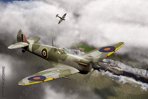 Two Spitfires over Dover Slika na platnu