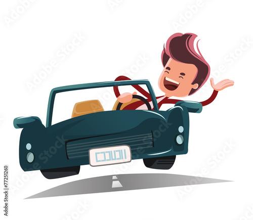 Staande foto Cartoon cars Enjoying the ride vector illustration cartoon character
