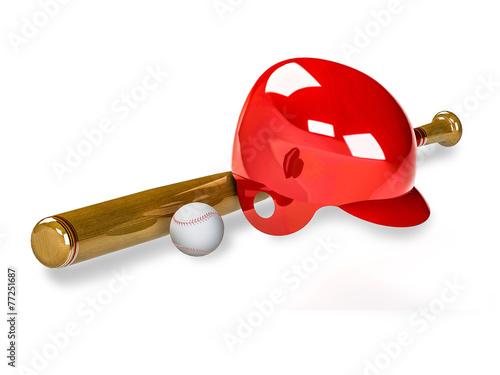 Photo  baseball equipment with a baseball bat, a ball and a batting hel