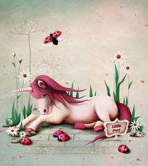 Fototapeta na wymiar Fairy tale illustration with  pink toy pony unicorn