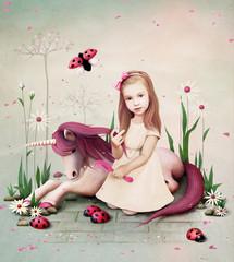 Obraz na płótnie Canvas Conceptual illustration of little girl and pony unicorn