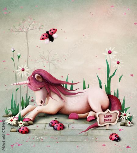 Fototapeta Fairy tale illustration with pink toy pony unicorn