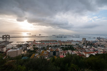 Evening View Of Famous Gibraltar, Europe.