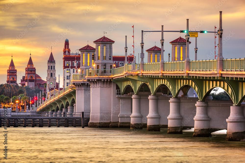 Fototapety, obrazy: St, Augustine, Florida, USA Skyline at Bridge of Lions