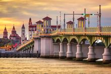 St, Augustine, Florida, USA Skyline At Bridge Of Lions
