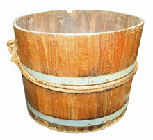 Wooden Tub Isolated On White B...