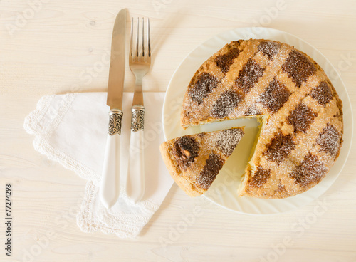 Fototapeta  Neapolitan Easter pie with wheat and ricotta