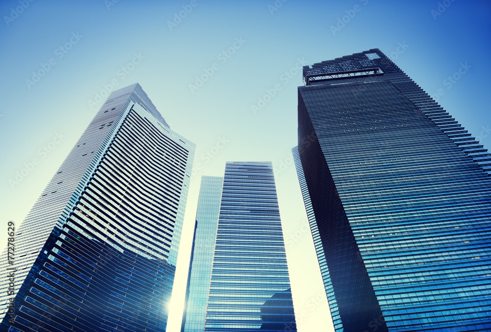 Fototapety, obrazy: Contemporary Architecture Office Building Cityscape Cocnept