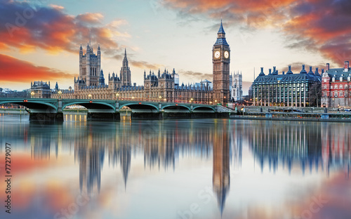 Foto auf Acrylglas Bestsellers London - Big ben and houses of parliament, UK