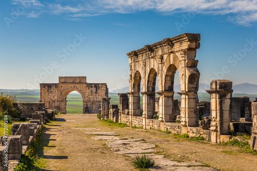 Poster Maroc The Decumanus Maximus and the Triumphal Arch, Volubilis, Morocco