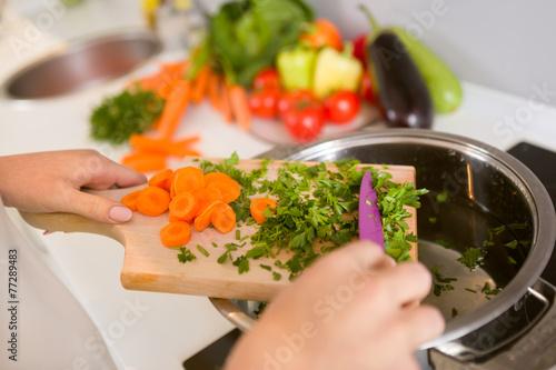 Fotografie, Obraz  Close up vegetables on the wooden  board