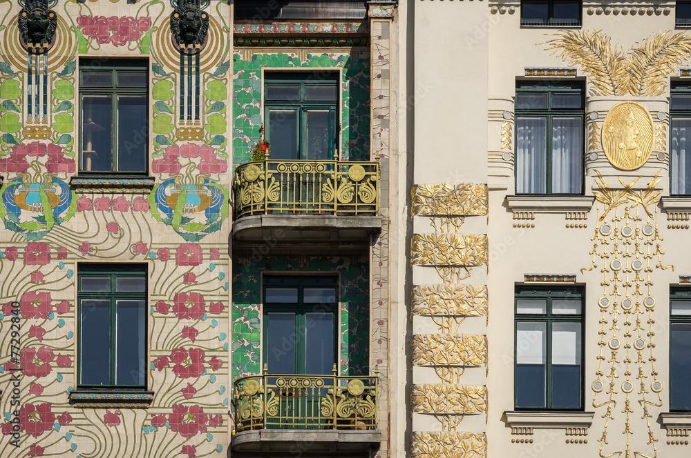 Plagát  Art Nouveau buildings in Vienna, Austria