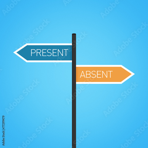 Present vs absent choice road sign Wallpaper Mural