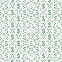 Green And White Dollar Sign Pattern Repeat Background
