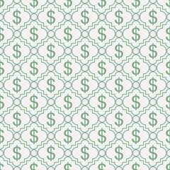 Panel Szklany Podświetlane Wzory geometryczne Green and White Dollar Sign Pattern Repeat Background