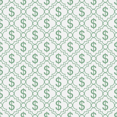 Fototapeta Wzory geometryczne Green and White Dollar Sign Pattern Repeat Background