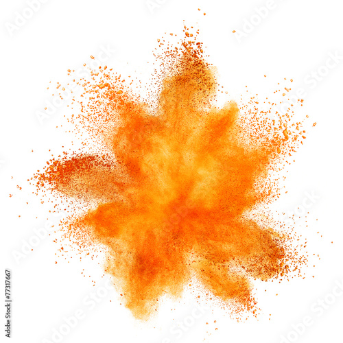 Valokuvatapetti Red powder explosion isolated on white