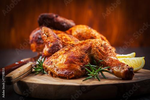 Fotobehang Kip Baked chicken with herbs
