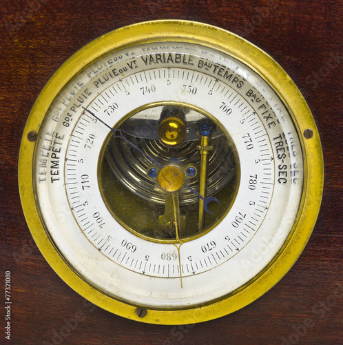 Old aneroid barometer Canvas Print