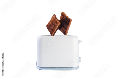 Two breads jump from toaster