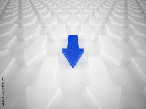 Fototapety, obrazy: Different blue arrow