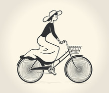 Vector Illustration Of Lady Ride A Vintage Bicycle