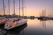 Sunset In Alimos Marina In Ath...