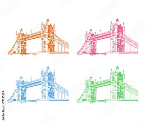 Foto op Canvas Doodle Vector tower bridge. London illustration