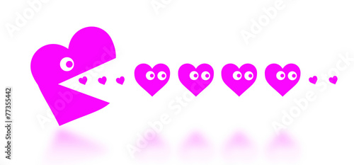Fotografie, Obraz  Concept of dating - big Pacman heart hunting small hearts