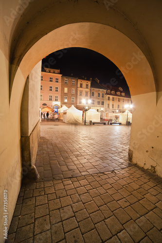 Small Market Square at Night in Krakow #77356070