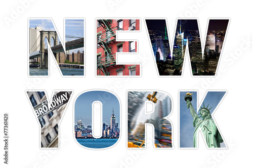 Deurstickers New York TAXI Letters NEW YORK photo collage isolated on white background