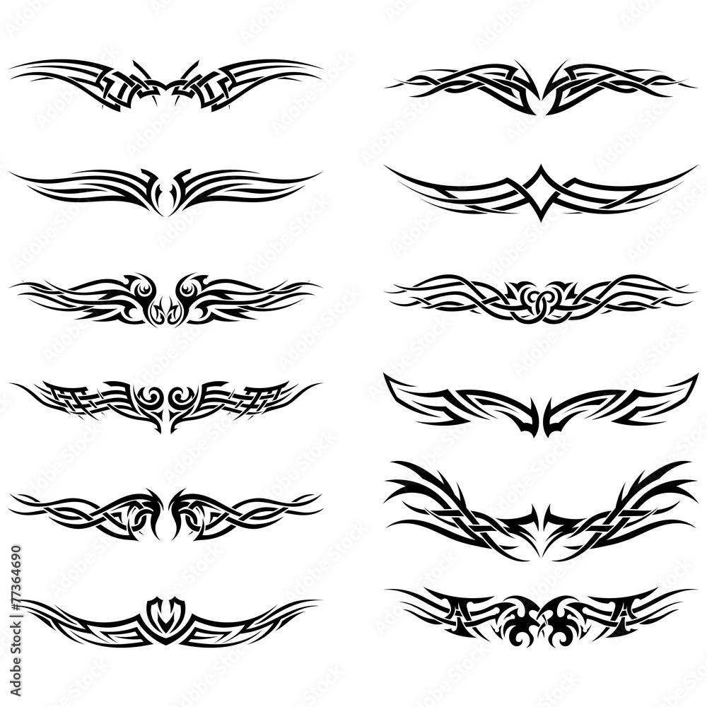 Fototapeta Set of tribal tattoos