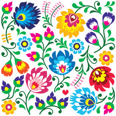 Floral Polish folk art pattern in square - Wycinanki