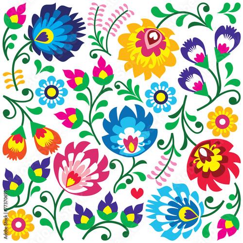 b655af7b Obraz na płótnie Floral Polish folk art pattern in square ...