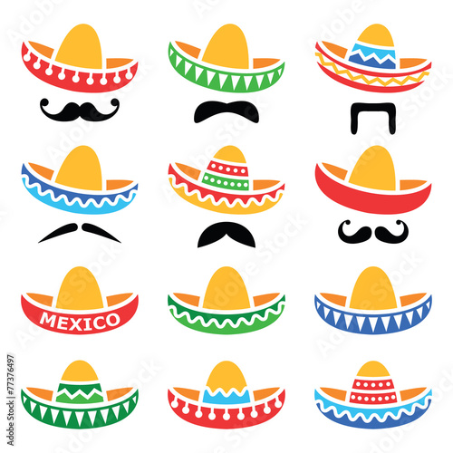 Fotografie, Obraz  Mexican Sombrero hat with moustache or mustache icons