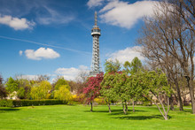 Famous Lookout Tower On The Petrin Hill In Prague