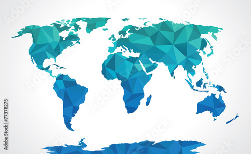Blue polygonal world map vector фототапет
