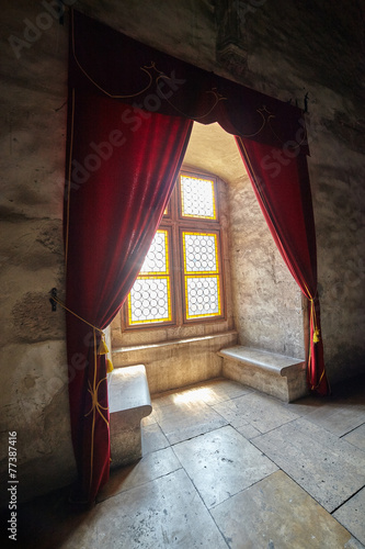 Slika na platnu Castle window with curtains