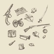 Civil War Object Hand Drawing Illustration
