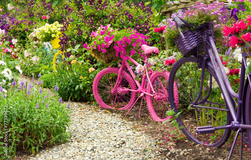 Fototapeta  Painted Bicycles as Garden Art Planters