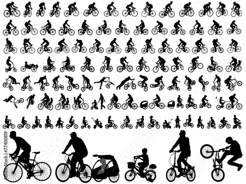 Leinwand Poster 106 high quality bicyclists silhouettes - vector