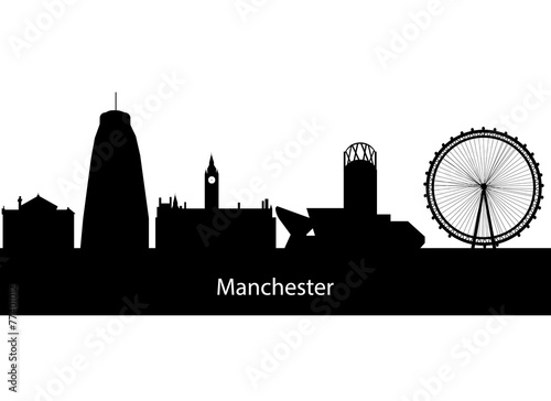 silhouette of city manchester england